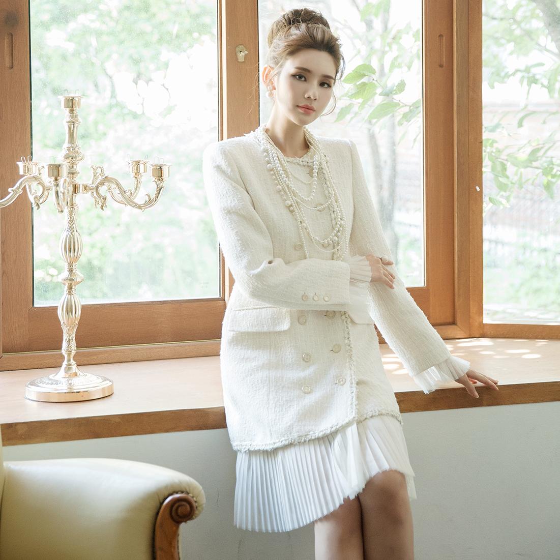 J736 roman Chiffon pleats Tweed Long Jacket * Can be worn as a dress *