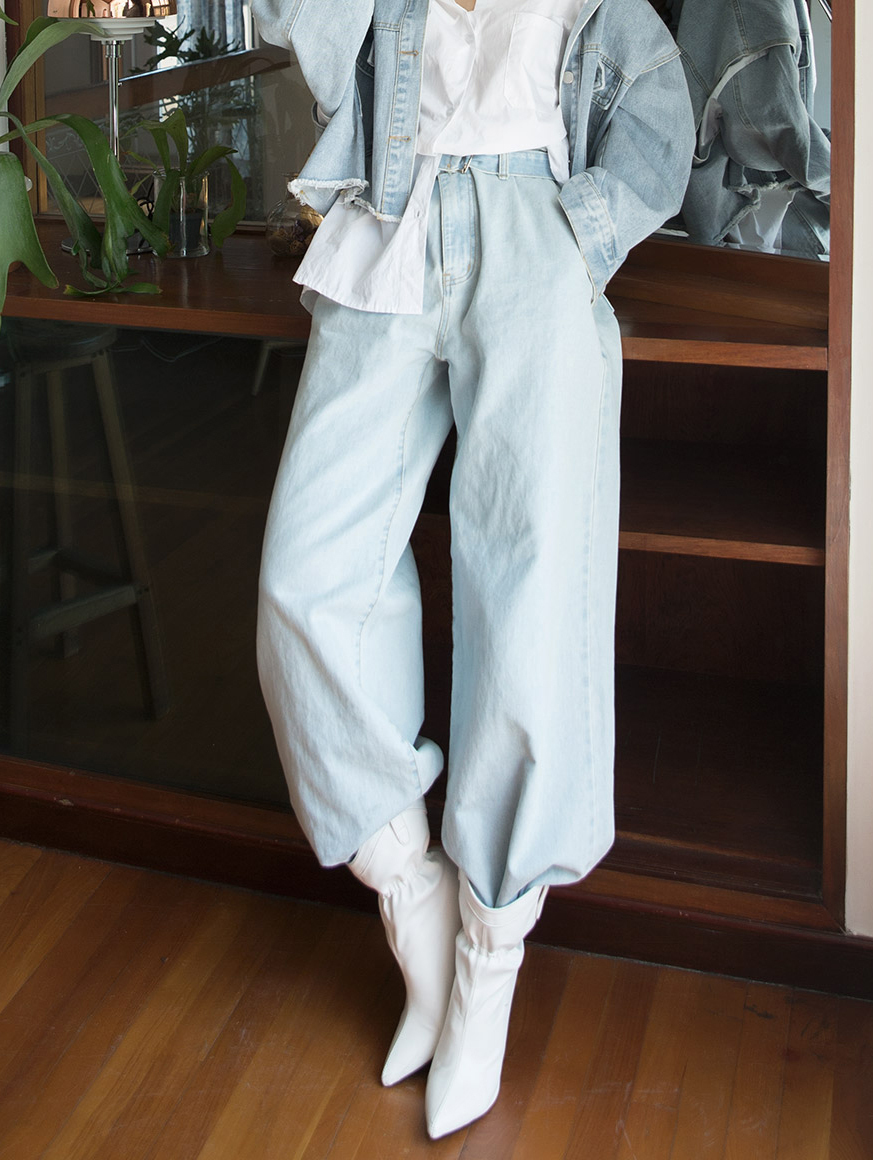 PJ387 Paiden Maxi wide Denim Pants (Belt set)