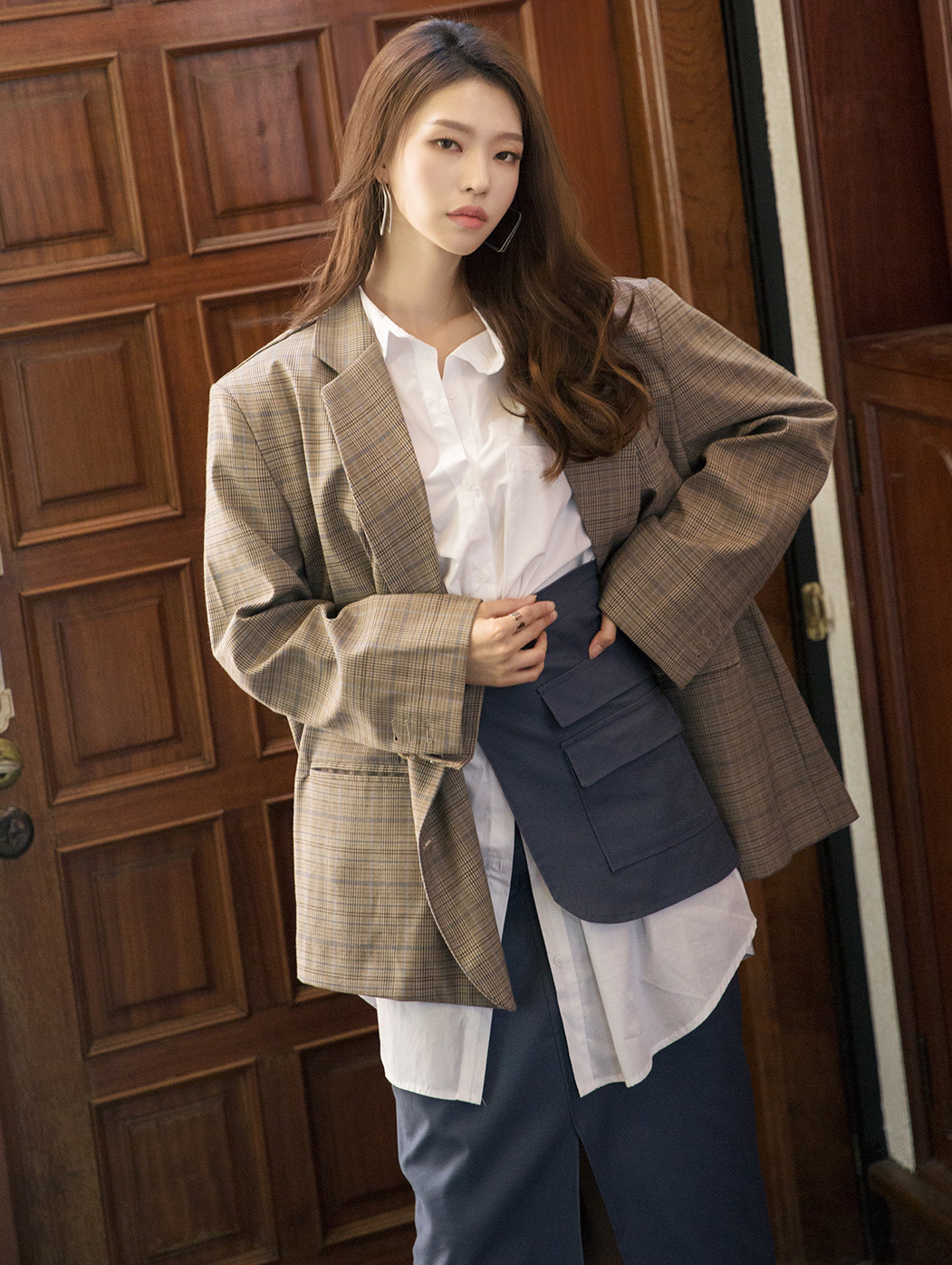 J743 Coryl Down Boxy Check Jacket