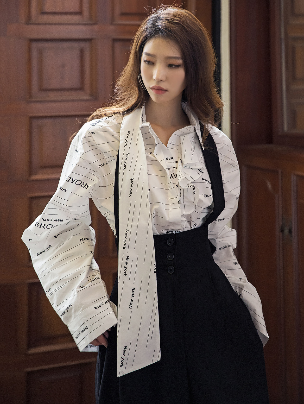 S335 Lettering Frill Unbalance Scarf Shirt (3rd REORDER)