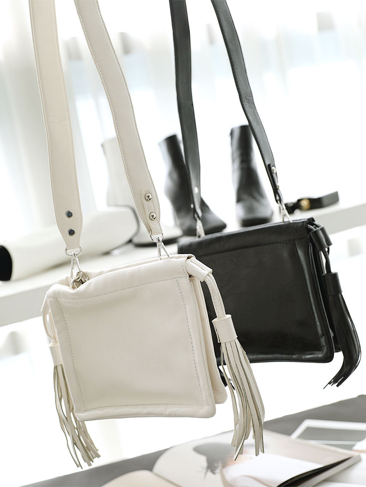 A-1065 Stella Leather Tassel Shoulder Bag