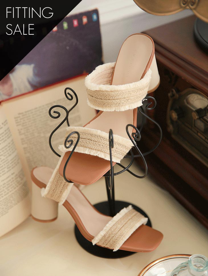 PS1655 Sandy Rattan Strap Heel * Fitting Sale *