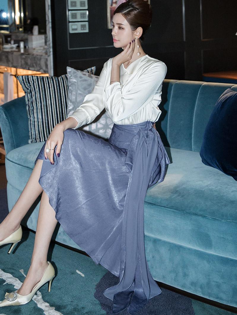SK1949 tiening fabric detail silky Skirt