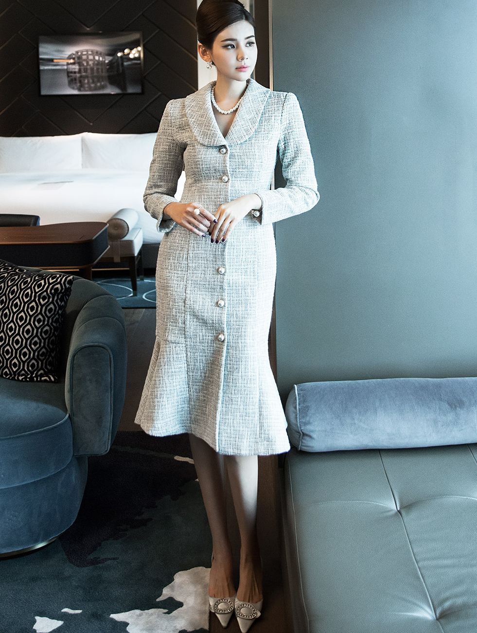 D3909 Cozy Shawl collar Pearl Button Tweed Dress