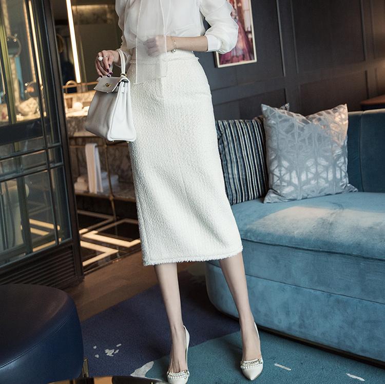 SK1952 sailron Gold-Button H-Line Wool Skirt