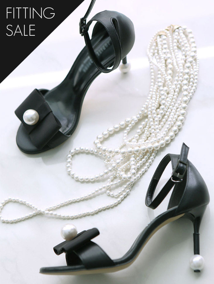 PS1683 Pearl ribbon Ankle Strap Heel * Fitting Sale *