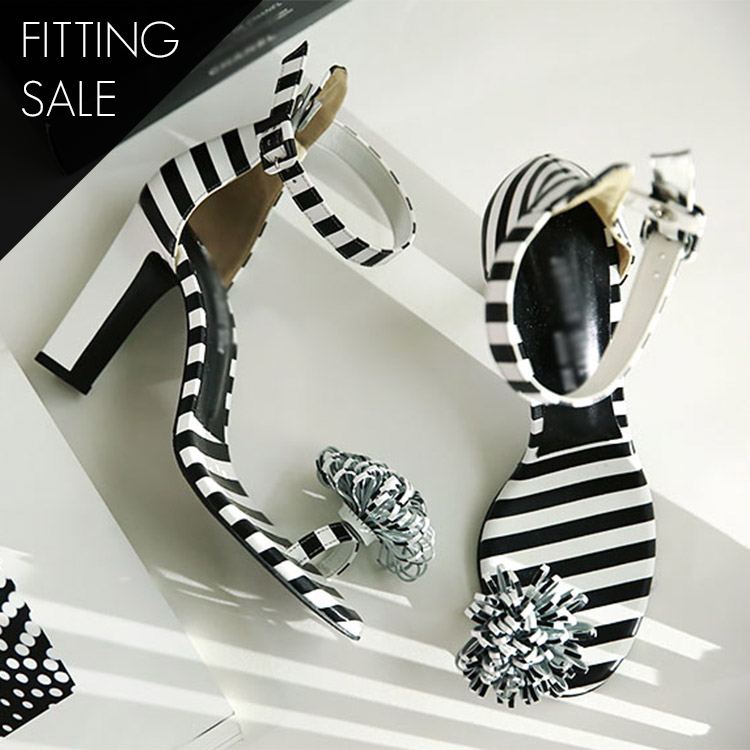 PS1688 short stripe corsage sandals heels * hand made * fitting sale *