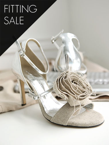 PS1686 fabric corsage open toe heel * hand made * fitting sale *