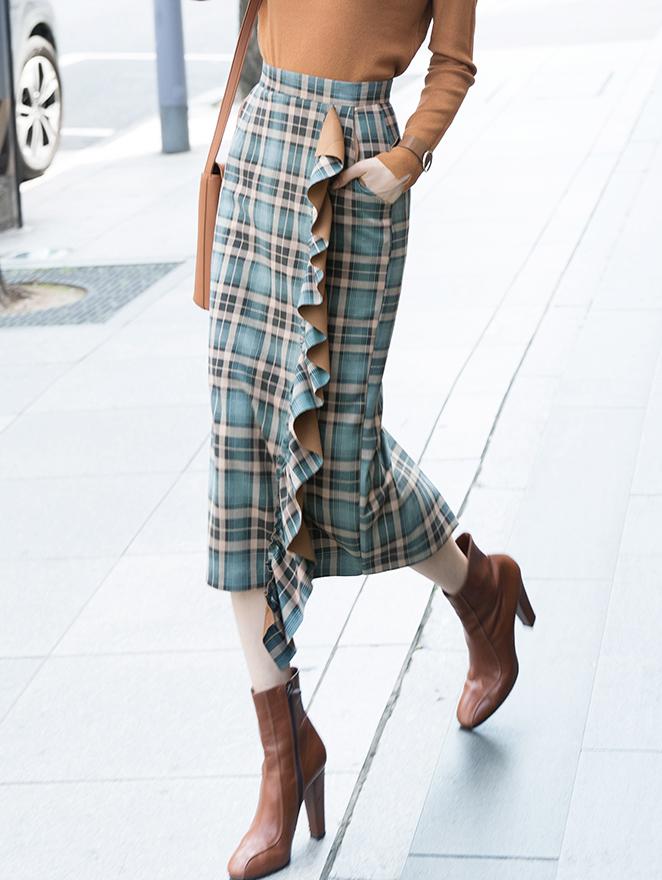 SK9053 May Jane Check Frill Skirt (3rd REORDER)