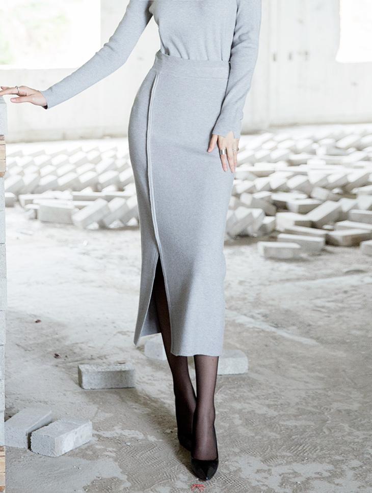 SK1955 Soft Long One Slit Skirt