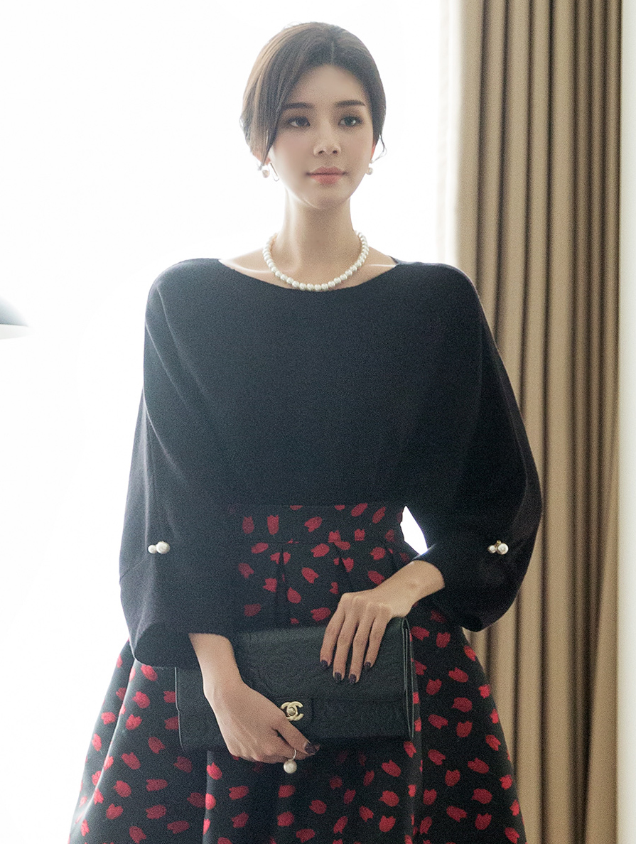 E2047 Twan Boat Neck Pearl point Knit Top (6th order)