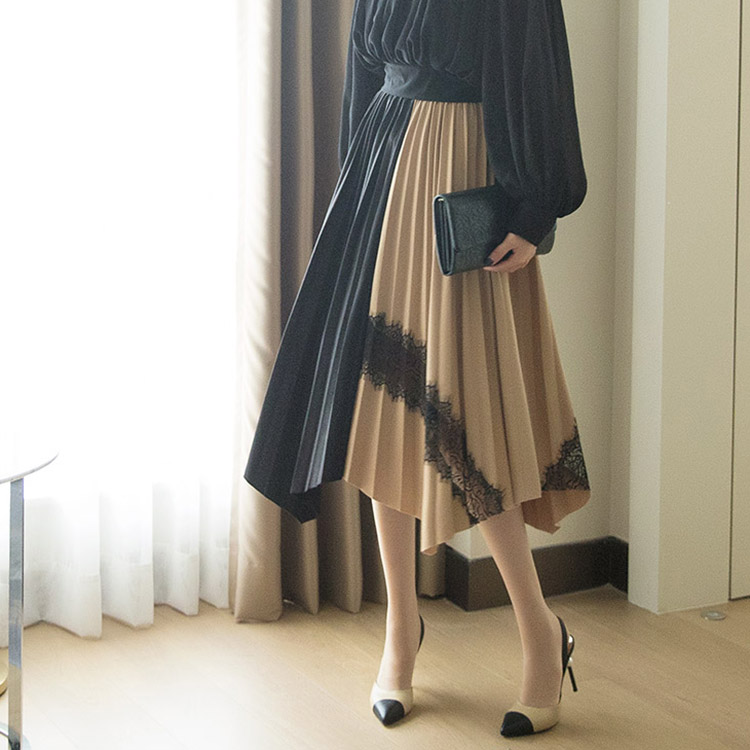 SK1964 Half Arrangement of colors pleats Lace Skirt (26th REORDER)