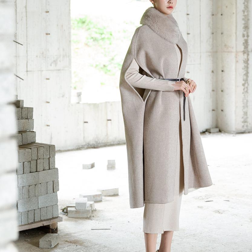 J771 Dren Real Fox Wool Coat (Belt set) (neck warmer set) * HAND MADE *