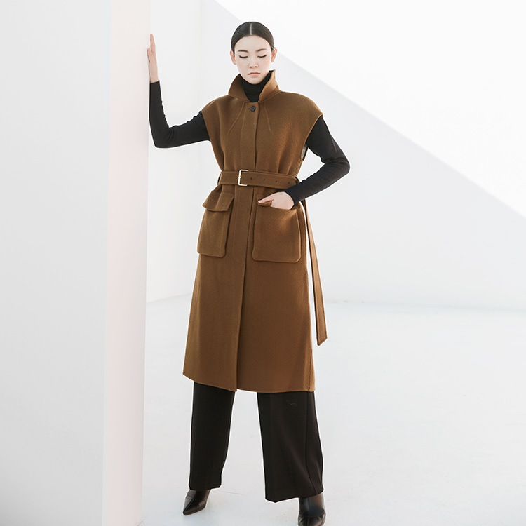 J790 Camel wool vest Long Coat * HAND MADE *