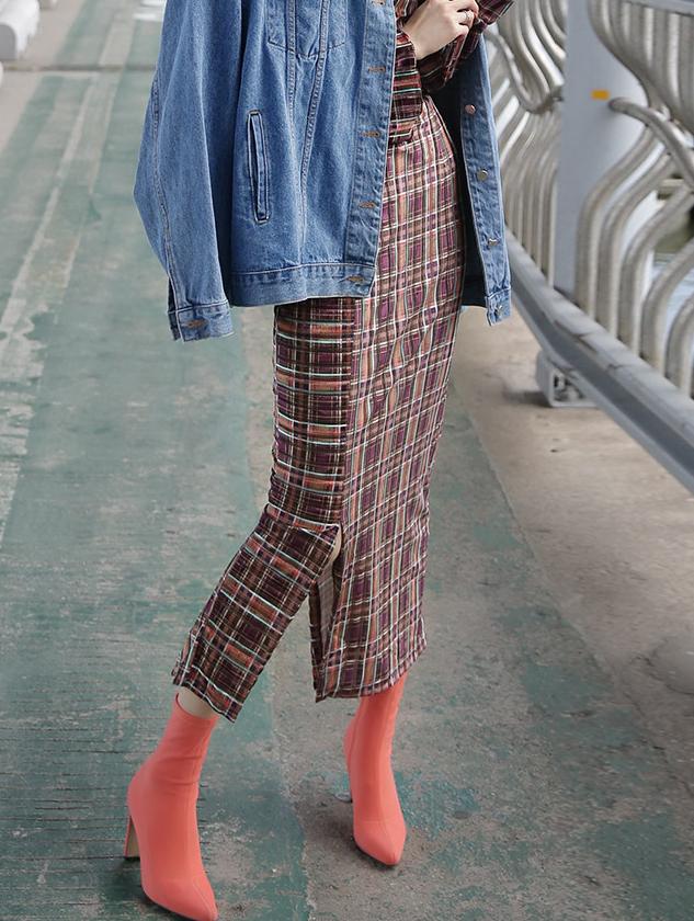 SK9033 posh velvet slit Check Skirt