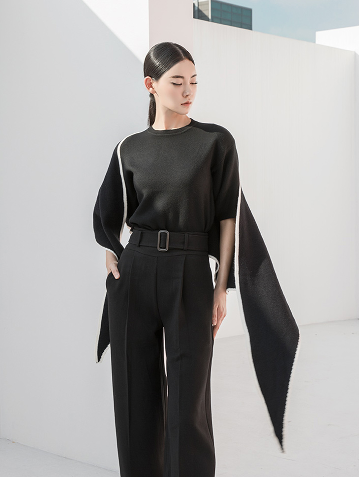 E2069 Magzen Volume Sleeve Knit Top