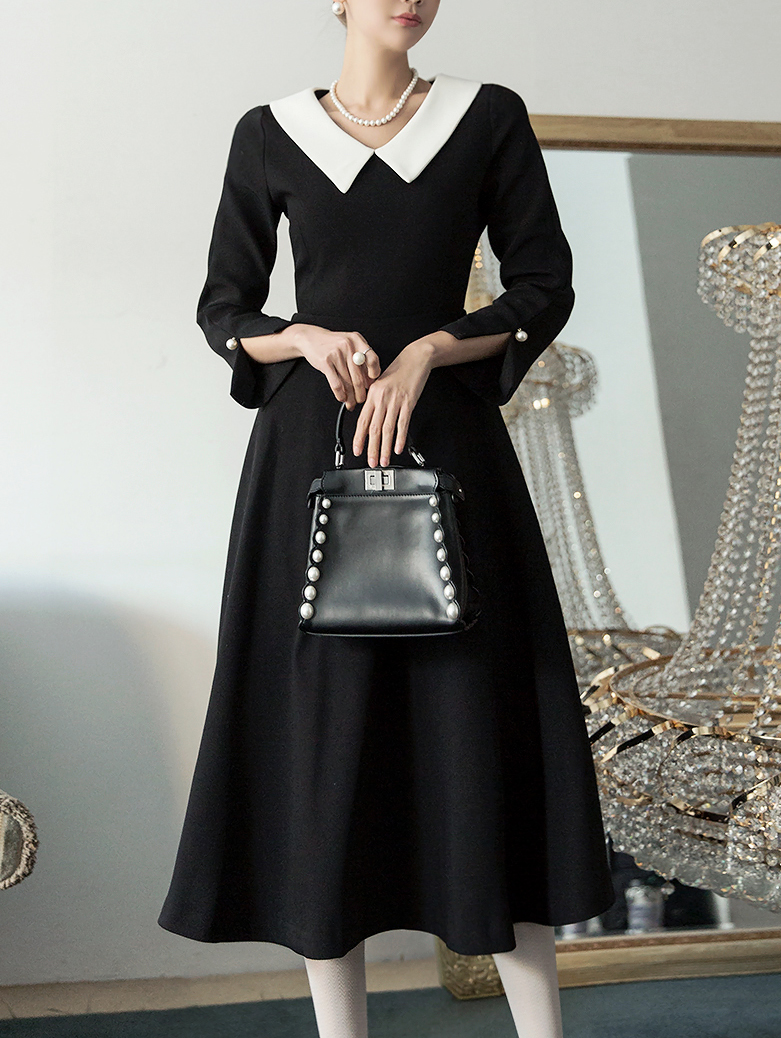 D3700 loel feminine Collar Dress * L size production * (34th REORDER)