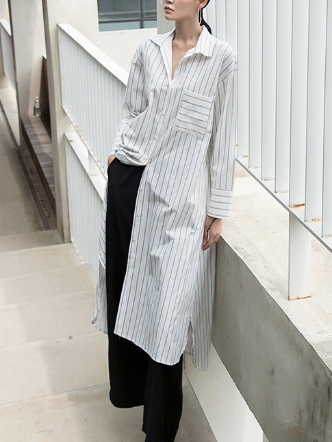 S330 Easy simple Stripe Long Shirt * I can wear it in one piece *