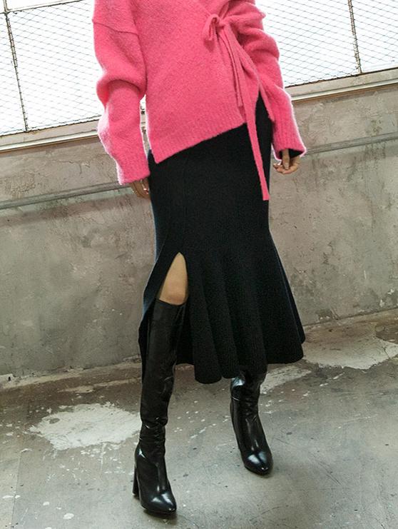 SK1968  Line Slit Knit Skirt