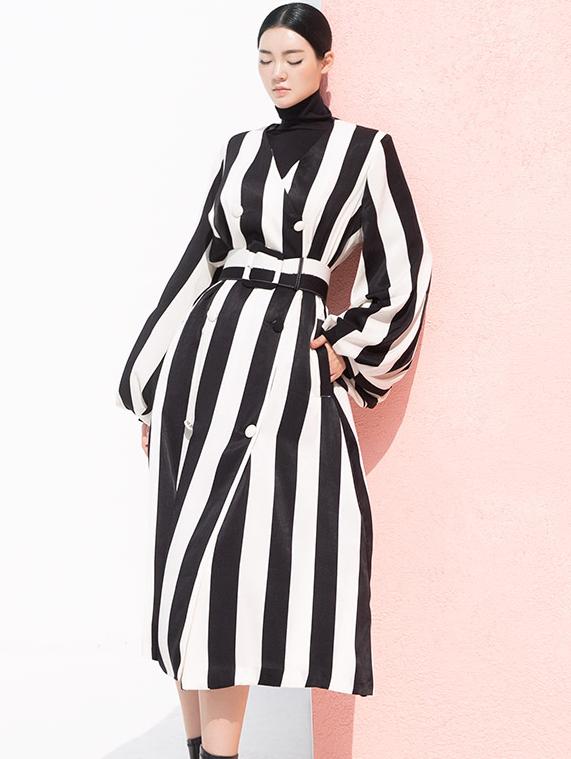 J9031 Quincy Stripe Coat (belt set) * Can be worn as a dress *