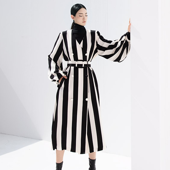J9031 Quincy Stripe Coat (belt set) * Can be worn as a dress *
