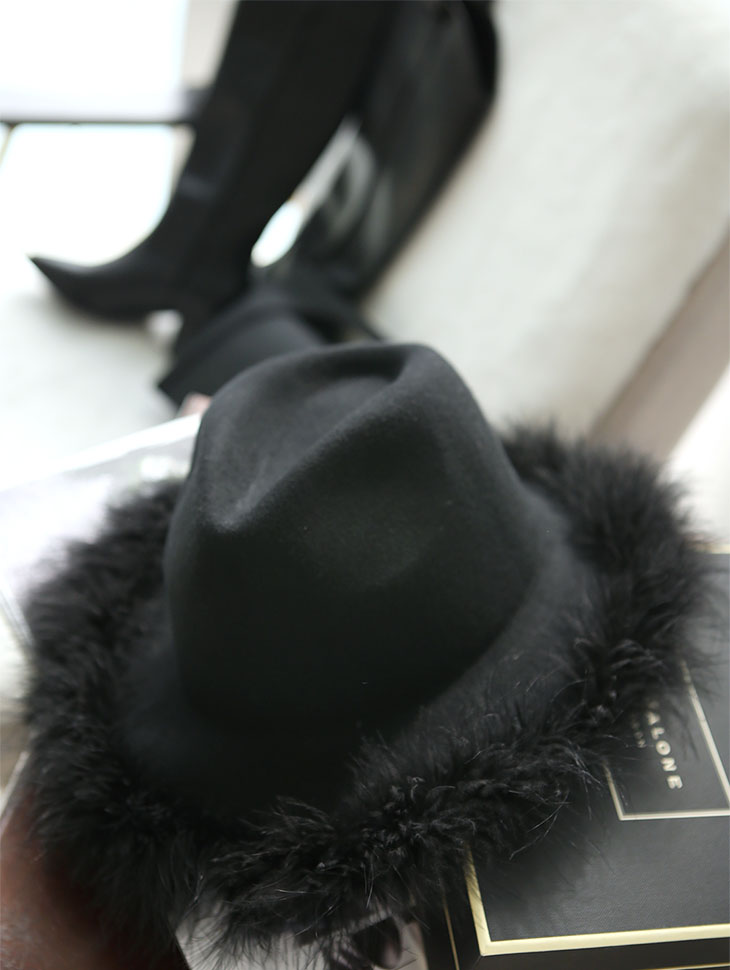 AC-575 wide feather fedora hat