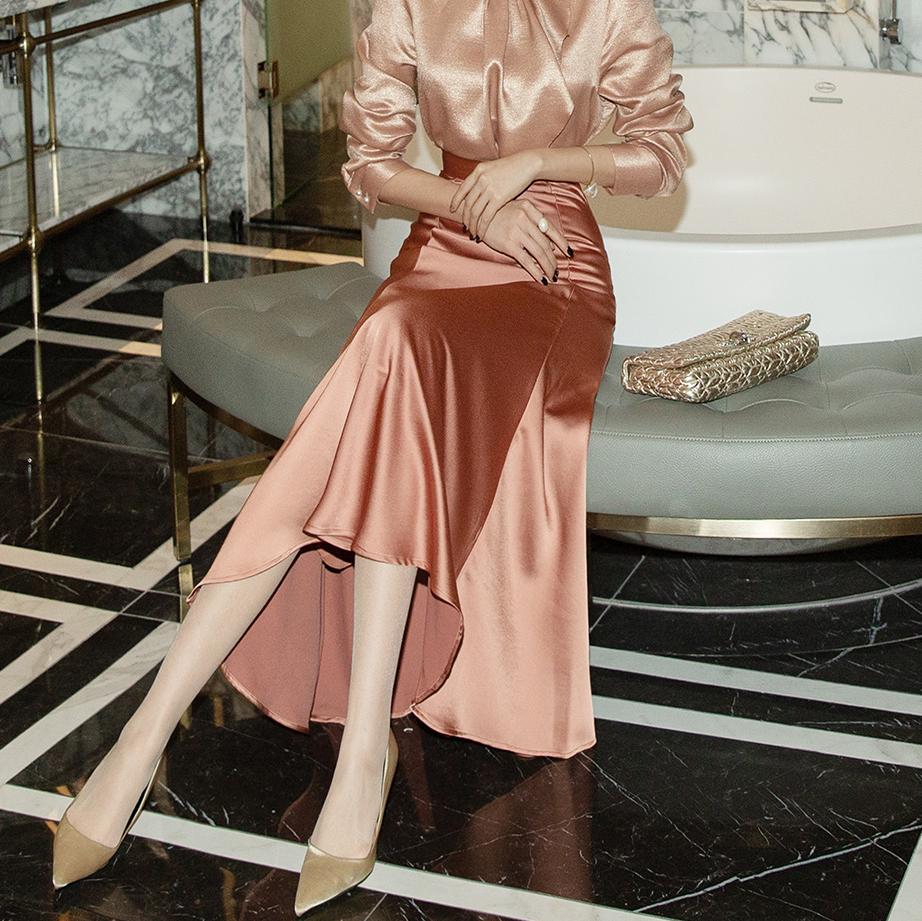 SK1971 Mercotein Satin Long Skirt