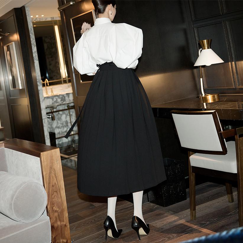 SK1972 bor pleats warp Skirt