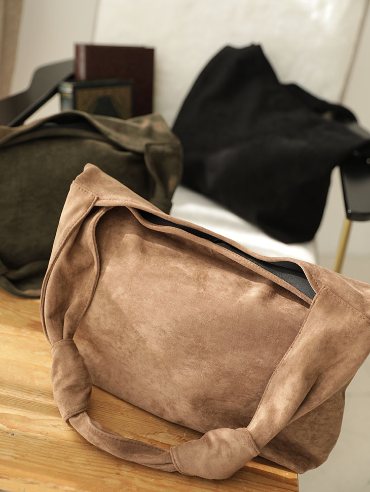 A-1090 Riven Two Point Suede Shoulder Bag