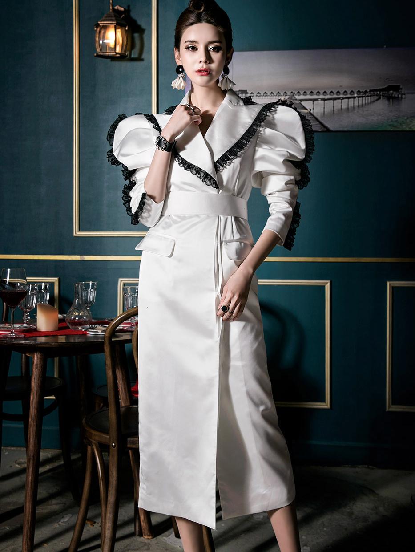 D9053 Puff-shoulder Big Color Lace Dress (Beltset) (10th REORDER)