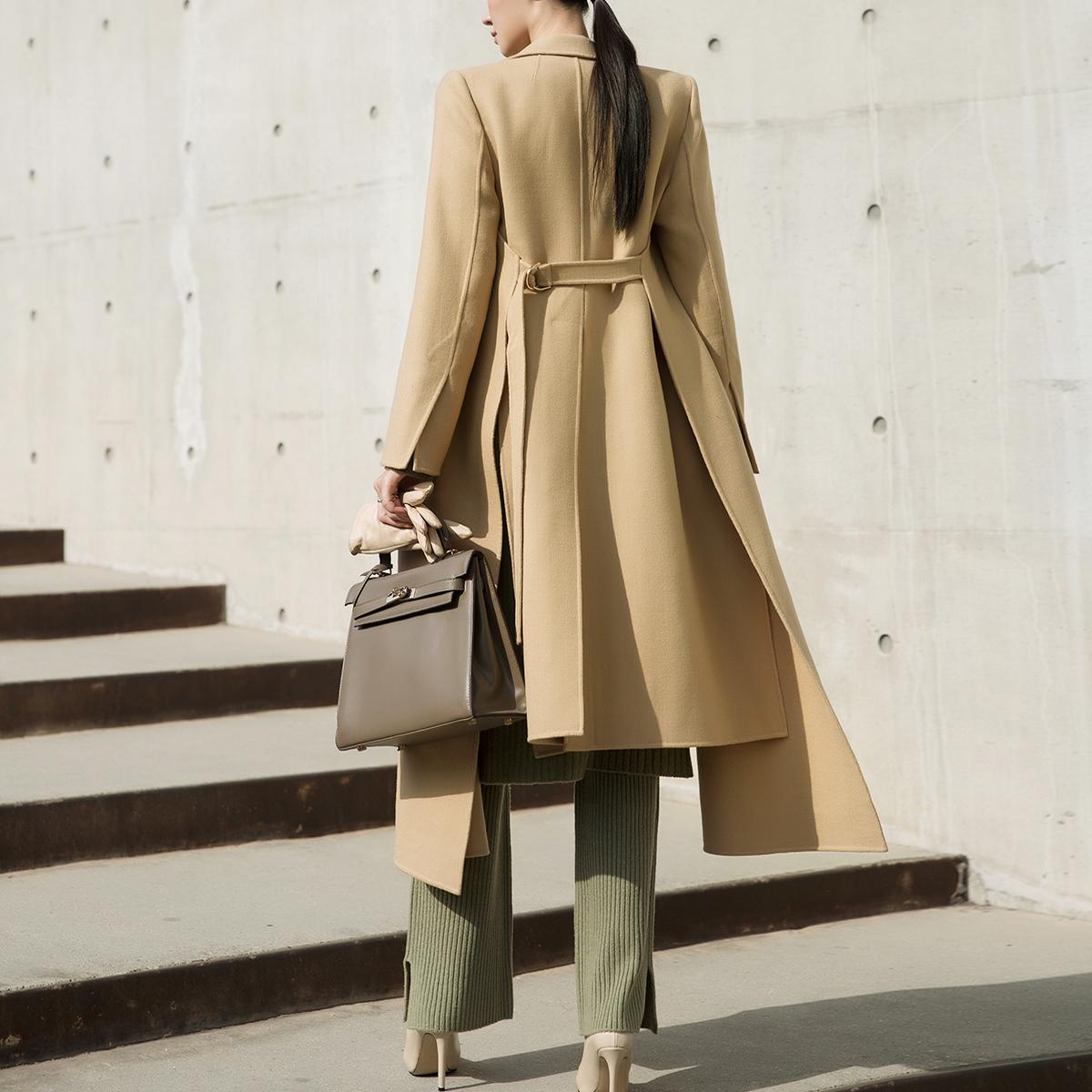J754 Drelin Wool belted Coat * BLACK LABEL *