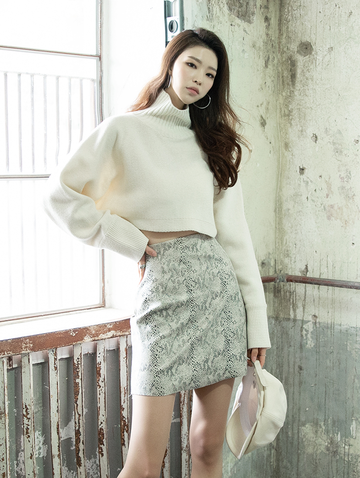 E2073 ray Crop Knit Turtle neck Top
