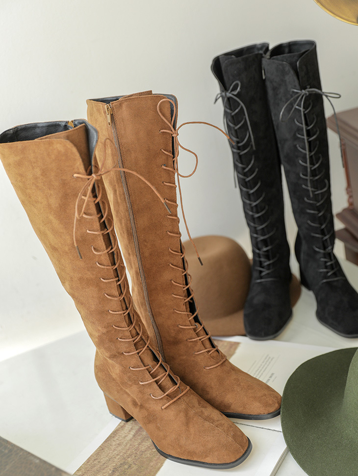 AR-2405 Hemi Lace Up Suede Long Boots