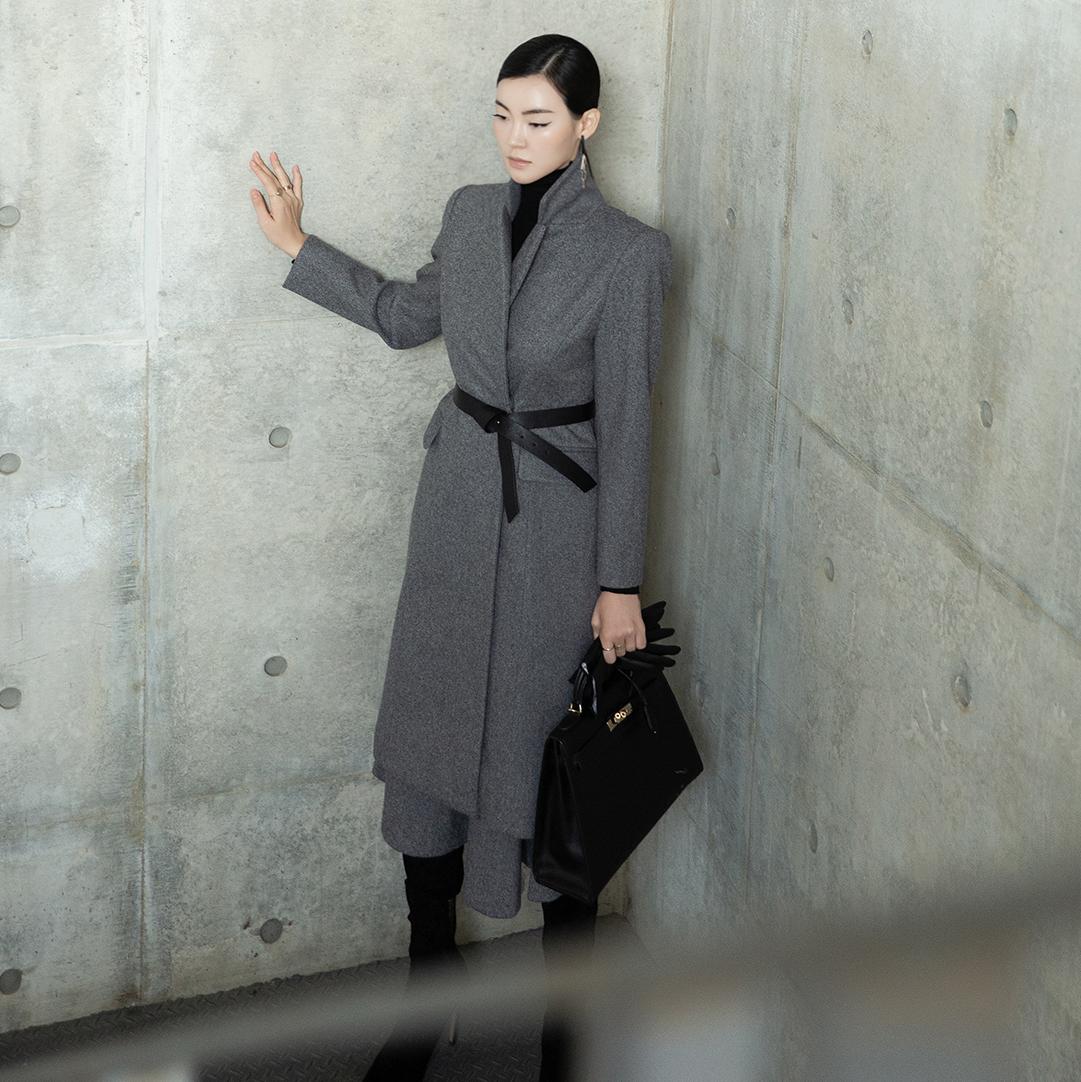 J838 Porcel Normal wool Coat (Belt set)