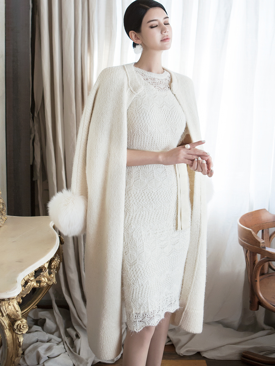J814 Tero Real Fox Sleeve Long Cardigan * Sleeve Fur Detachable