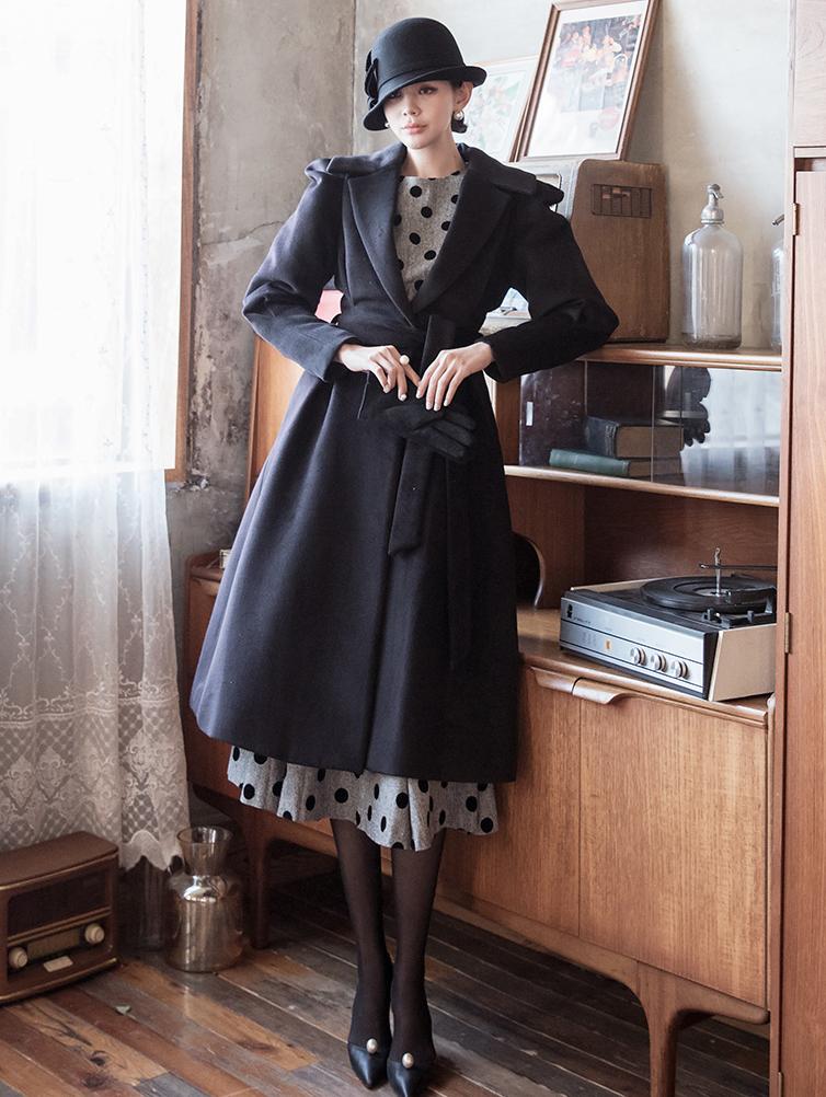 J854 Pia Princess wool Coat (Belt set)