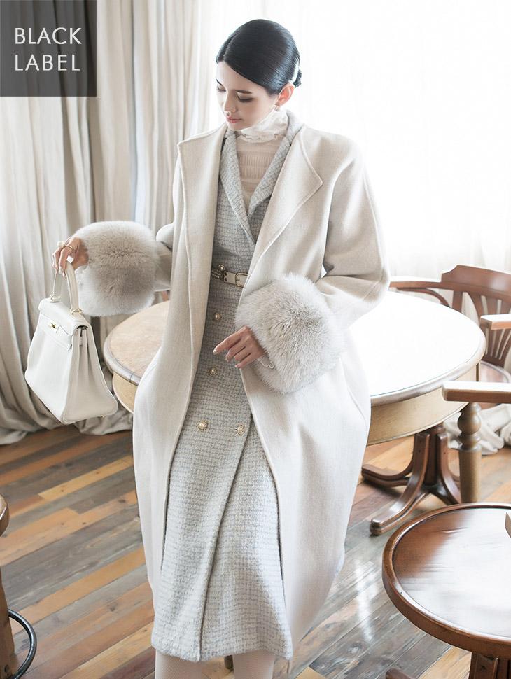 J850 Harrison real fox fur sleeve wool Coat (belt set) * BLACK LABEL *