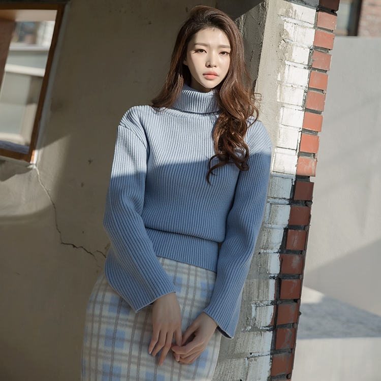 E2104 Maine Drop Shoulder Knit turtleneck Top