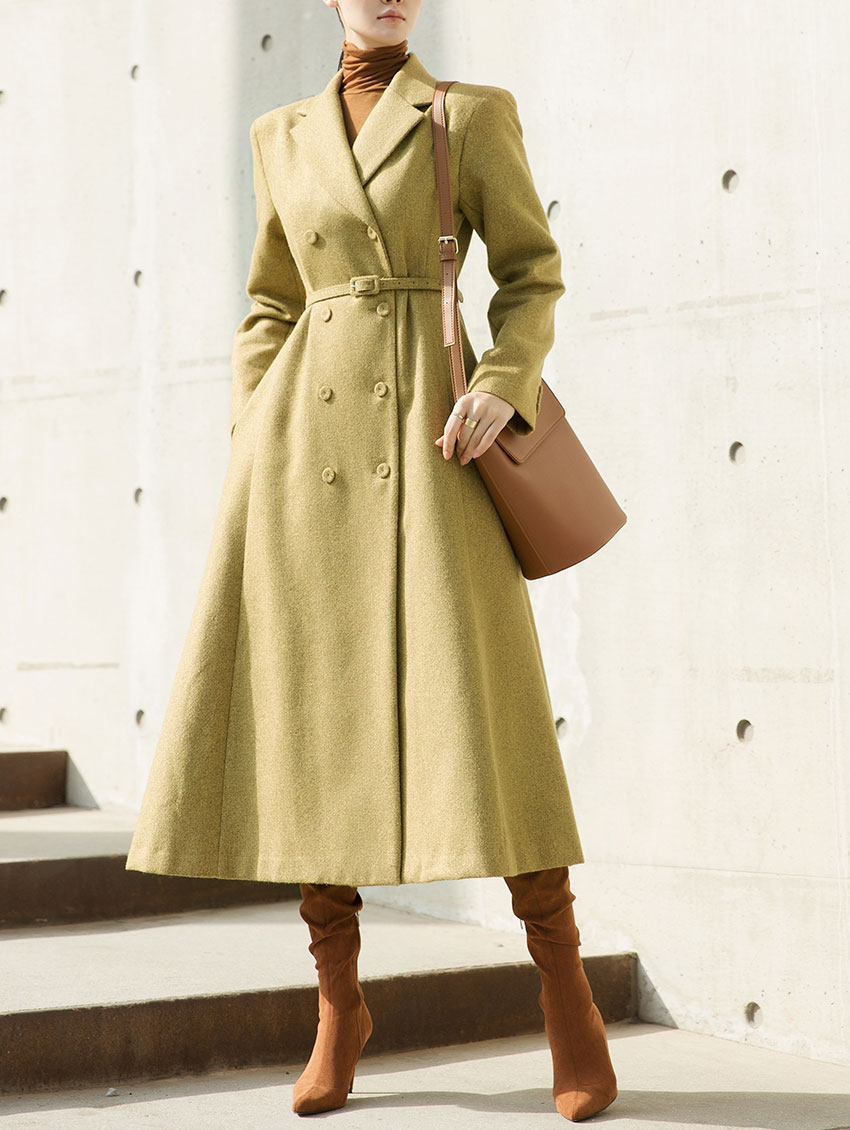 D3941 mono flare wool Dress (Belt set) * can be worn as an outer * (3rd REORDER)