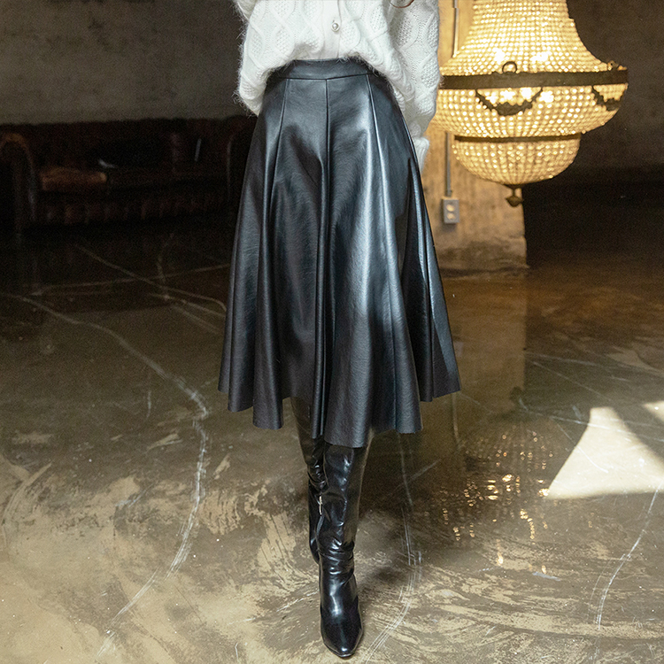 SK1978 Bennon flare Leather Skirt (34th REORDER) * Lsize Production *