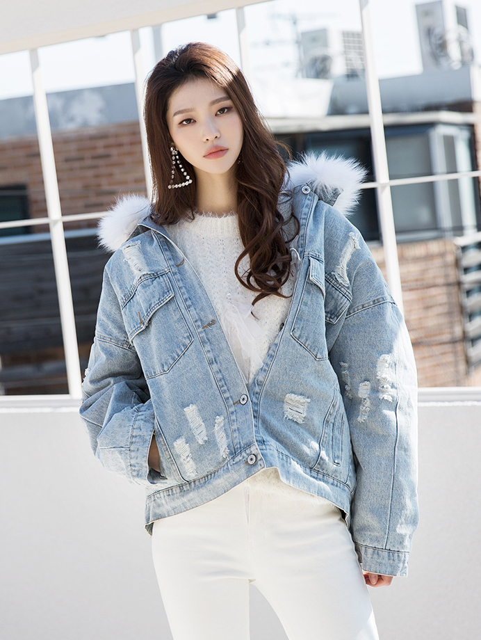 J848 Bendini Neck Fur line Denim Jacket