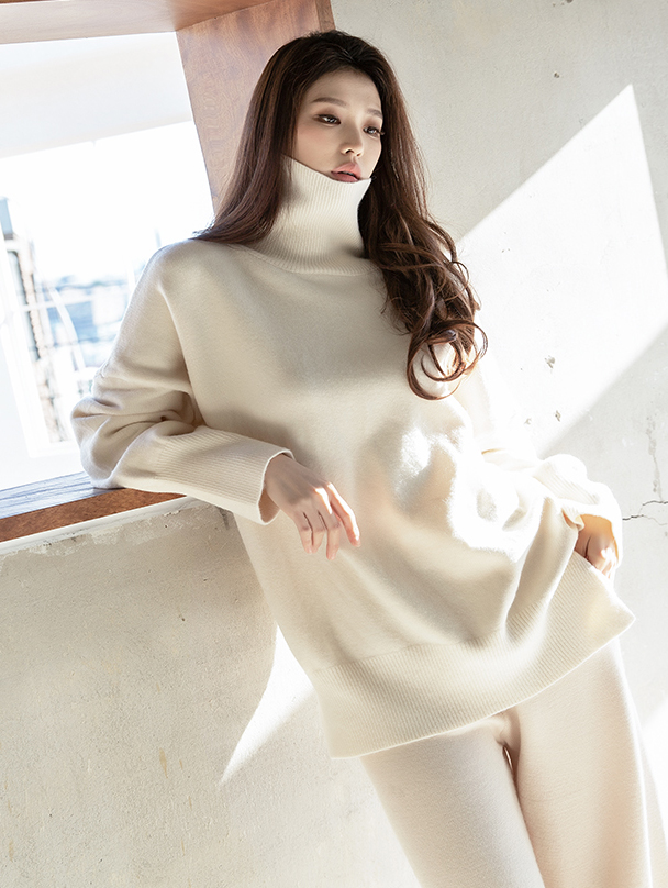 E2105 Tez overfit wool Knit turtleneck Top (6th order)