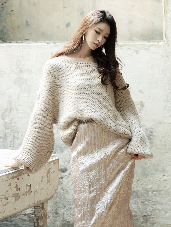 E2111 Mirua Volume Sleeve wool Knit Top