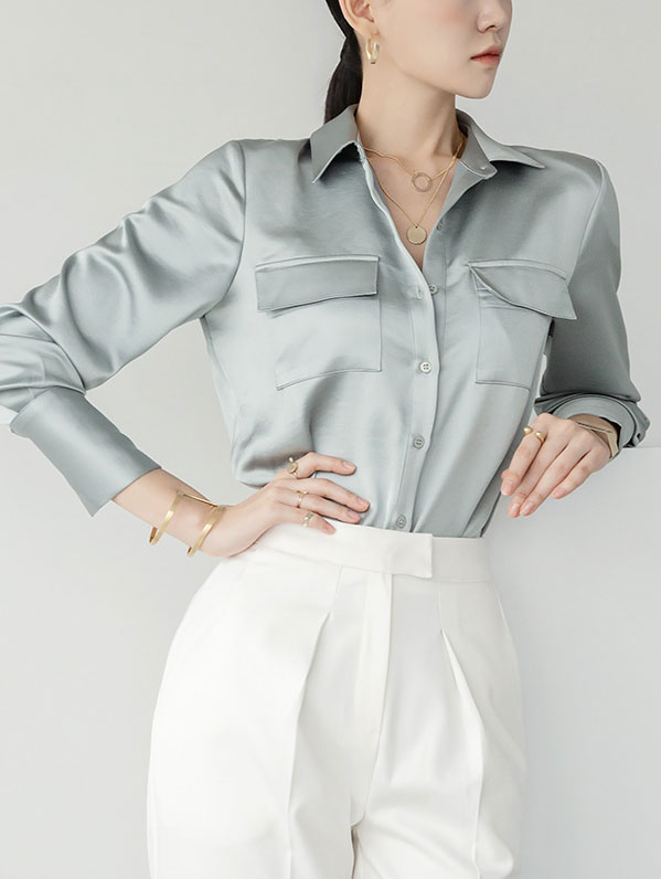 S350 Satin Pocket glossy Shirt