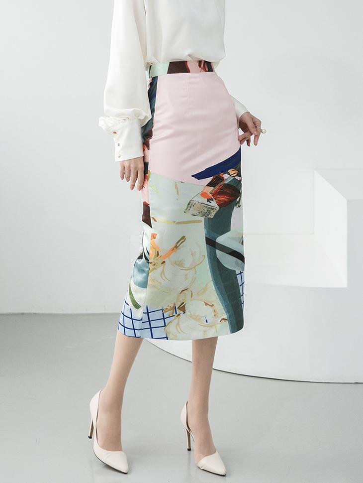 SK9064 Pericle Silky Printing Skirt