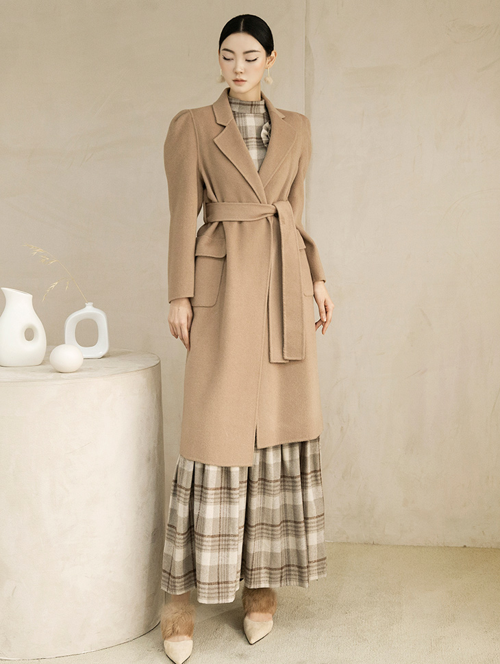 J811 rua Puff wool Coat (Belt set)