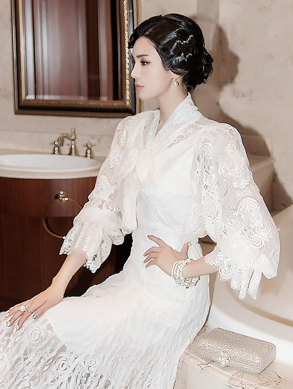 B2341 dust Scarf Lace Blouse (12th REORDER)