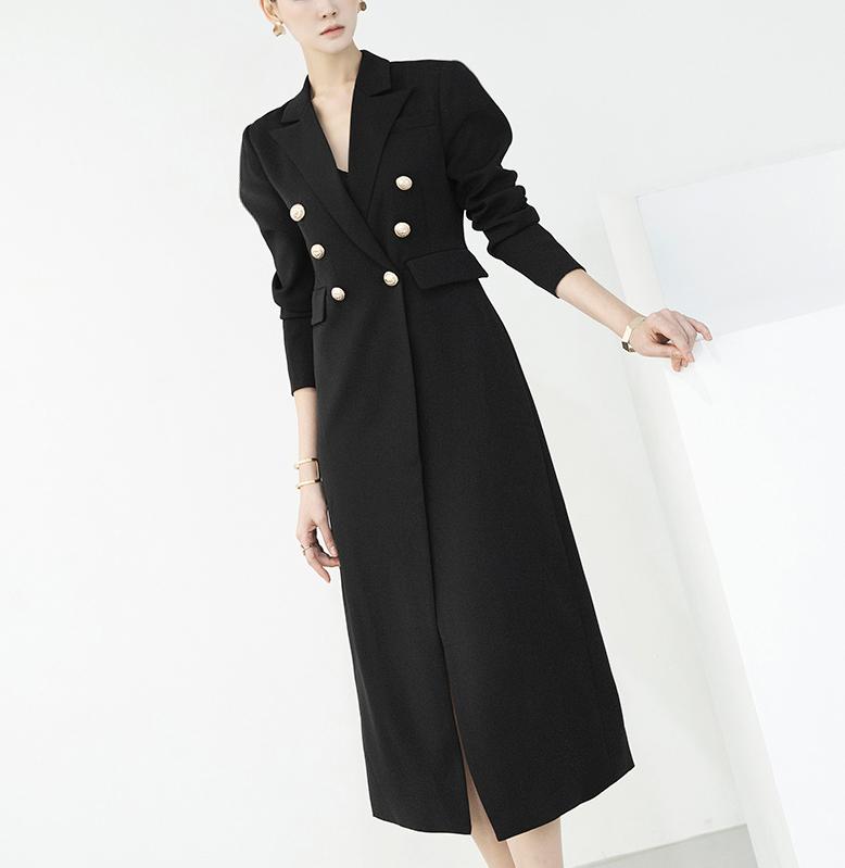 D3950 Deep Slit Gold Back-Line Dress *L size Production *