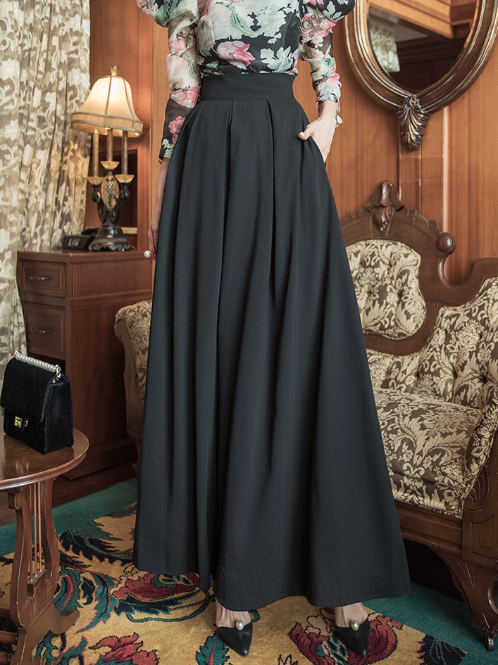 P9033 feminine pin tuck wide pull pants