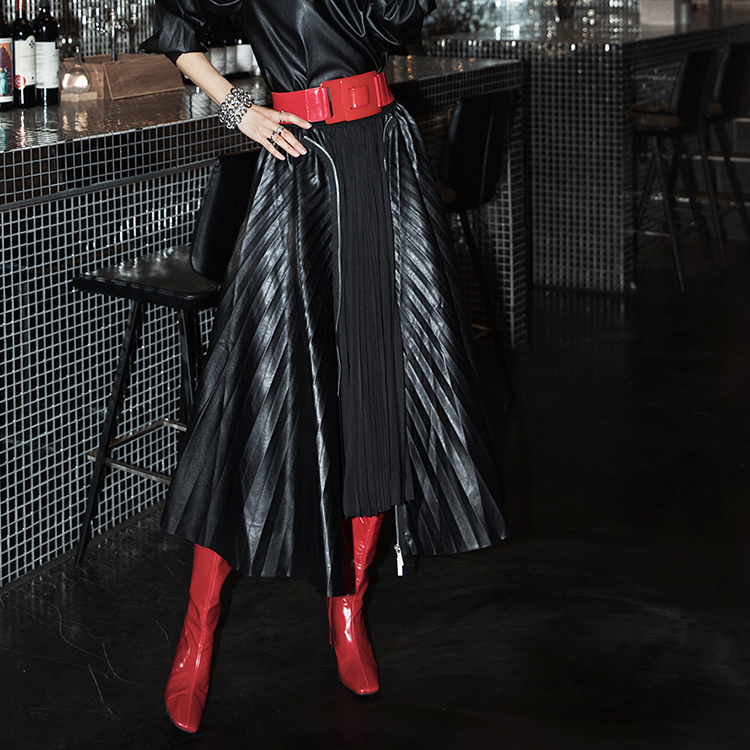 SK1995 zipper pleats Leather two way Skirt (6th order)
